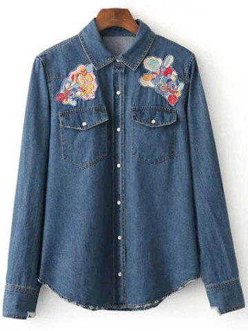 Patched Cowboy Denim Long Sleeve Shirt With Pockets - Deep Blue - M