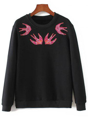 Hot Crew Neck Swallow Embroidered Sweatshirt