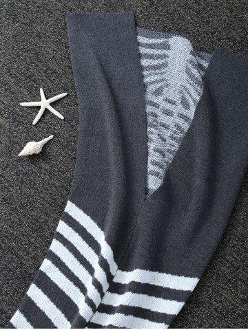 Online Super Soft Knitted Fishbone Kids Wrap Halloween Mermaid Blanket and Throws - GREY AND WHITE  Mobile