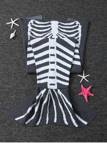 Shops Super Soft Knitted Fishbone Kids Wrap Halloween Mermaid Blanket and Throws - GREY AND WHITE  Mobile