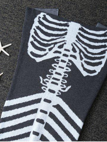 Outfit Super Soft Knitted Fishbone Kids Wrap Halloween Mermaid Blanket and Throws - GREY AND WHITE  Mobile