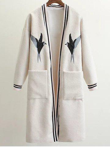 Hot Collarless Bird Embroidered Wool Blend Coat