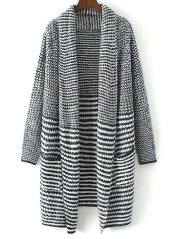 Hot Drape Front Striped Knitted Cardigan COLORMIX L