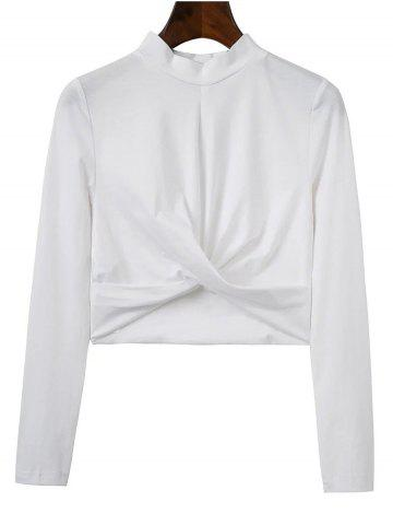 Hot High Collar Cropped Fitted T-Shirt WHITE L