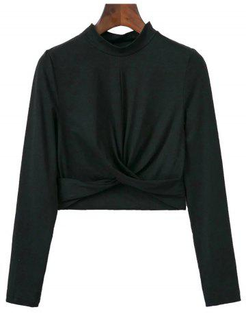 High Collar Cropped Fitted T-Shirt - Black - S