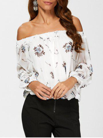 See Through Chiffon Floral Off The Shoulder Blouse - WHITE XL