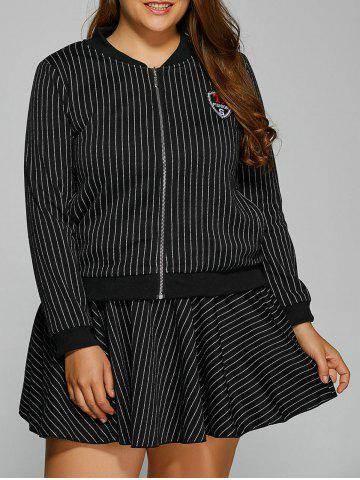 Trendy Patch Design Striped Baseball Jacket and Skirt