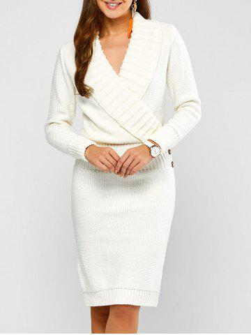 Long Sleeve Shawl Collar Sweater Fitted Dress - White - S