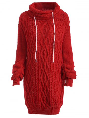 Buy Turtleneck Long Sleeve Cable Knit Sweater Dress - Red XL
