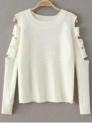 Sale Ripped Cut Out Fitting Sweater
