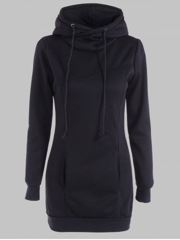 Latest Slimming Pullover Pockets Design Hoodie BLACK 4XL