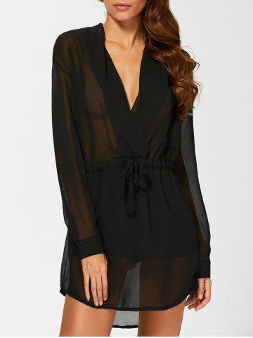 Outfits Chiffon See Thru Long Sleeve Surplice Dress BLACK XL