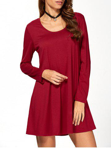 Trendy Fit and Flare Long Sleeve Mini Dress WINE RED XL