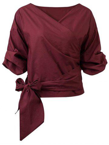 New Belted Puffed Sleeve Crossover Blouse