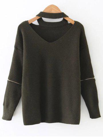 Cut Out Choker Jumper - ARMY GREEN ONE SIZE