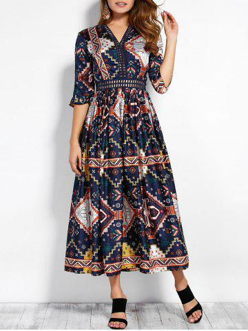 Buy V Neck Retro Print Hollow Maxi Dress XL