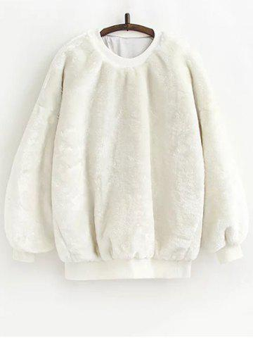 Fleece Sherpa Sweatshirt - WHITE ONE SIZE