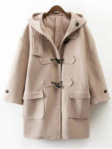 Store Hooded Duffel Walker Coat With Pockets KHAKI L