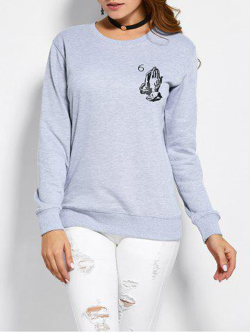 Affordable Patterned Crew Neck Sweatshirt GRAY L