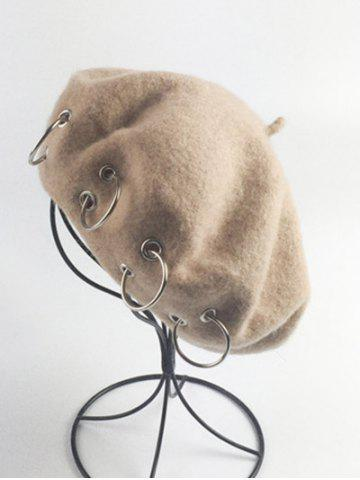Chic Vintage Circle Embellished Wool Beret French Hat