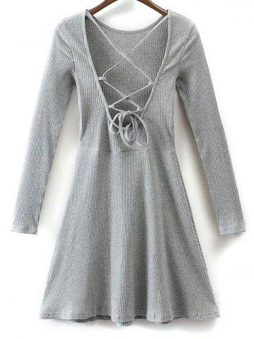 Buy Lace Up Back Fit and Flare Dress GRAY L