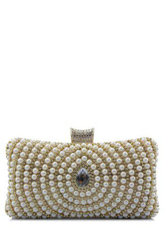 Unique Beading Metal Trimmed Clutches BEIGE