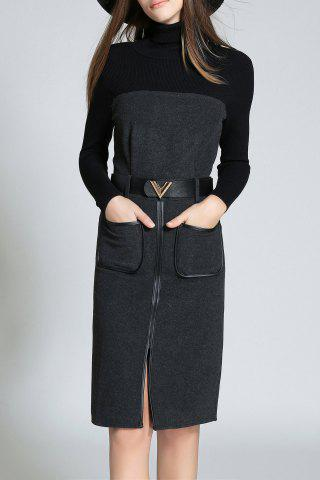 High Neck Long Sleeve Front Slit Sweater Dress - Deep Gray - Xl