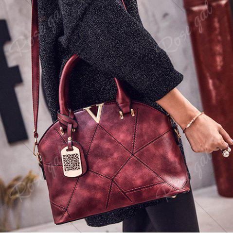 Chic Geometric Pattern Quilted Metal Tote Bag - WINE RED  Mobile