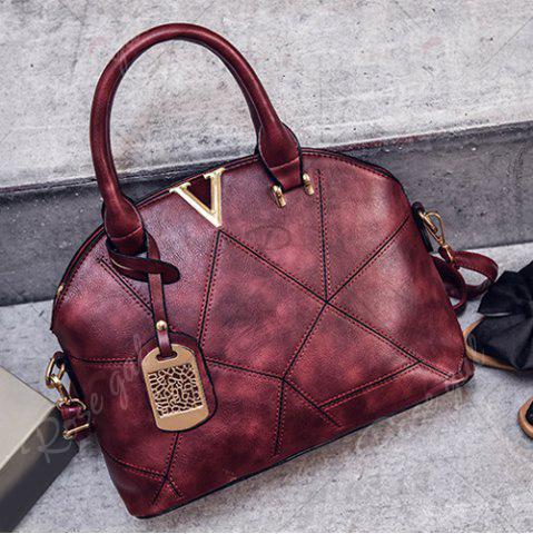 Shop Geometric Pattern Quilted Metal Tote Bag - WINE RED  Mobile