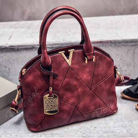 Latest Geometric Pattern Quilted Metal Tote Bag - WINE RED  Mobile