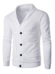 Button Up Shawl Collar Long Sleeve Cardigan - WHITE
