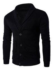 Button Up Shawl Collar Long Sleeve Cardigan - BLACK
