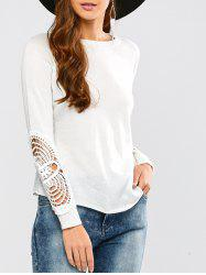 Long Sleeve Crochet Hollow Out Pullover Knitwear - WHITE XL