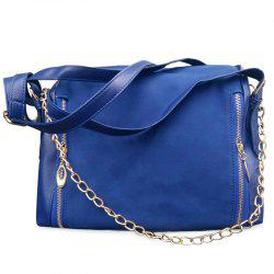 Chains Color Block Suede Crossbody Bag