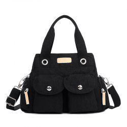 Pockets Magnetic Closure Zippers Tote Bag - BLACK
