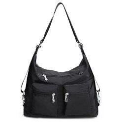 Nylon Pockets Zippers Shoulder Bag - BLACK