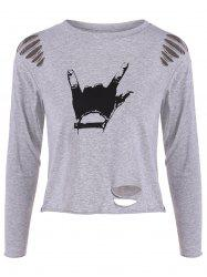 Hand Gesture Ripped Tee - GRAY ONE SIZE