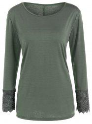 Lace Trim Long Sleeve Tee - ARMY GREEN XL