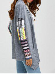 Printed Spliced Sleeve Asymmetric Cardigan - GRAY