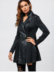 PU Patchwork Fit and Flare Coat -