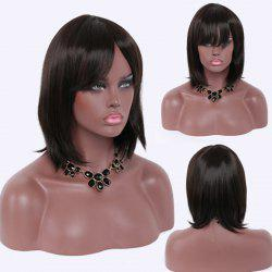 Charming Medium Black Full Bang Straight Capless Heat Resistant Synthetic Women's Wig