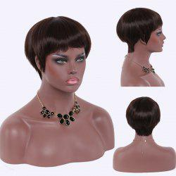 Stunning Ultrashort Full Bang Black Brown Capless Straight High Temperature Fiber Women's Wig - BLACK BROWN
