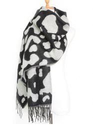 Chic Winter Cow Pattern Tassel Long Shawl Scarf