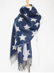 Chic Winter Star Pattern Tassel Long Wrap Scarf - PURPLISH BLUE