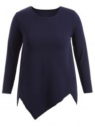 Asymmetric Bottoming T-Shirt - DEEP BLUE 5XL