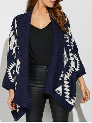 Geometrical Print Loose Collarless Cardigan