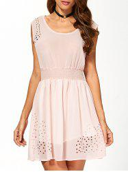 Mini See Through Openwork Dress - APRICOT