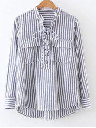 Pocket Striped Lace Up Blouse -