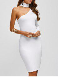 Chocker Fitted One Shoulder Knee Length Cocktail Dress