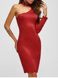 Chocker Fitted One Shoulder Knee Length Cocktail Dress - RED